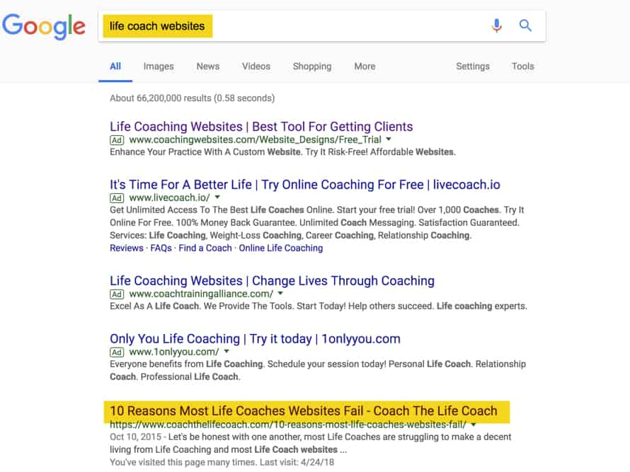 google search life coaches
