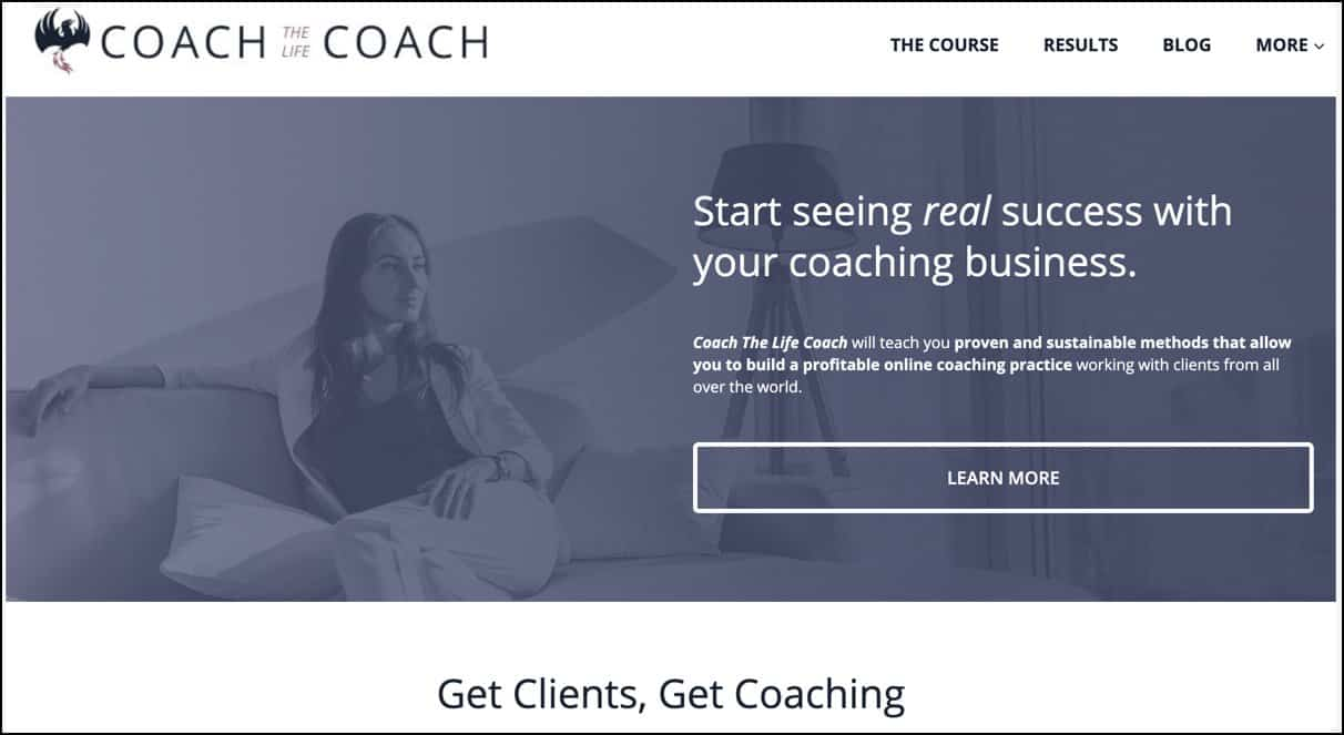 Coach The life Coach website header