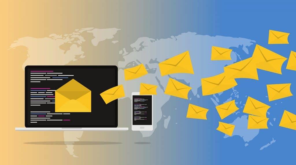 envelopes rushing to a laptop