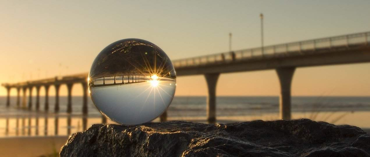 crystal ball with bridge behind it