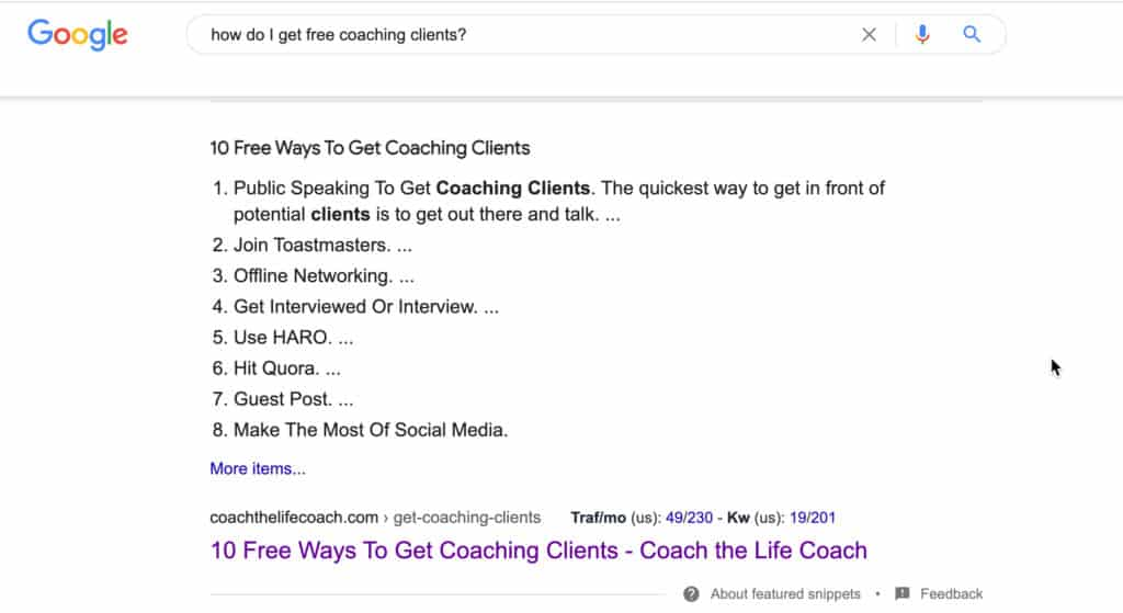 get coaching clients feature snippet